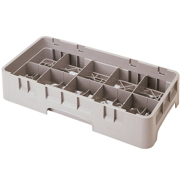 """Cambro 10HS318184 Beige Camrack 10 Compartment 3 5/8"""" Half Size Glass Rack Main Image 1"""