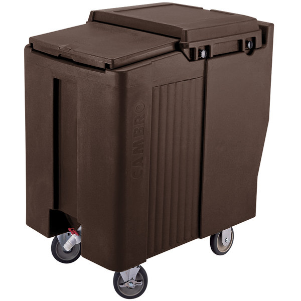 Cambro ICS175T131 SlidingLid™ Dark Brown Portable Ice Bin - 175 lb. Capacity Tall Model Main Image 1