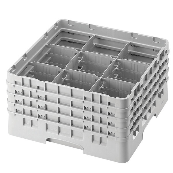 """Cambro 9S318151 Soft Gray Camrack Customizable 9 Compartment 3 5/8"""" Glass Rack Main Image 1"""