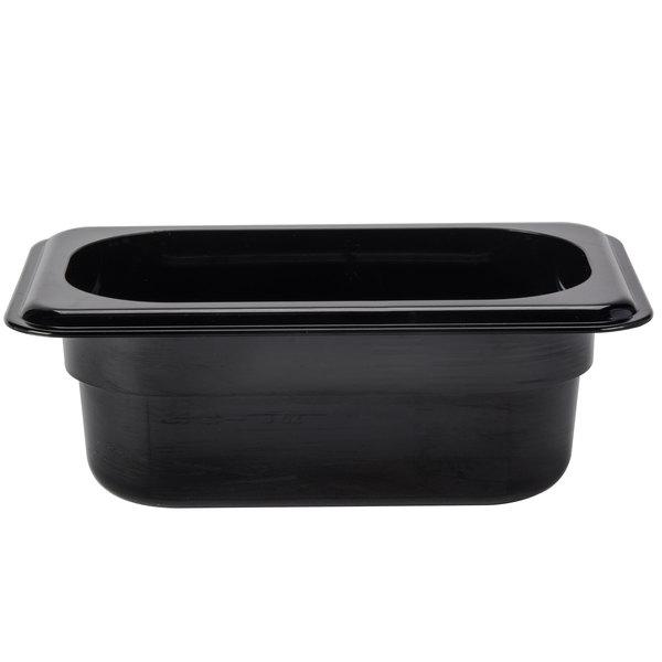 """Cambro 92HP110 H-Pan 1/9 Size Black High Heat Food Pan - 2 1/2"""" Deep"""