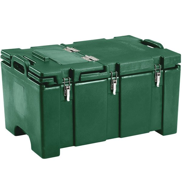 "Cambro 100MPCHL519 Camcarrier Green Top loading Pan Carrier with Hinged Lid for 12"" x 20"" Food Pans"