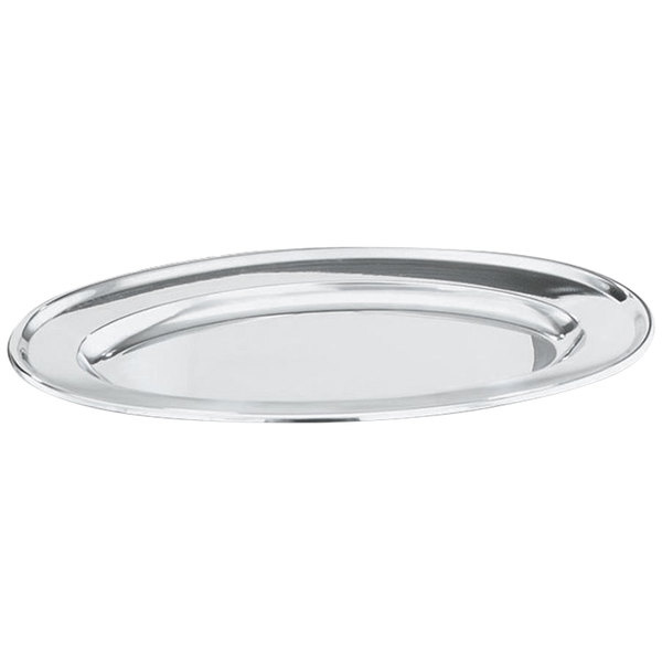 """Vollrath 47232 Mirror-Finished Stainless Steel Oval Platter - 12"""" x 7"""" Main Image 1"""