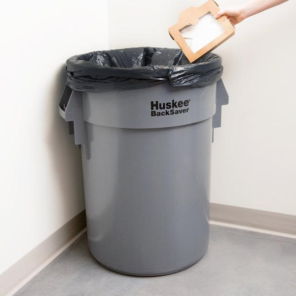 Continental 4410GY Huskee BackSaver 44 Gallon Gray Vented / Ribbed Trash Can Main Image 9