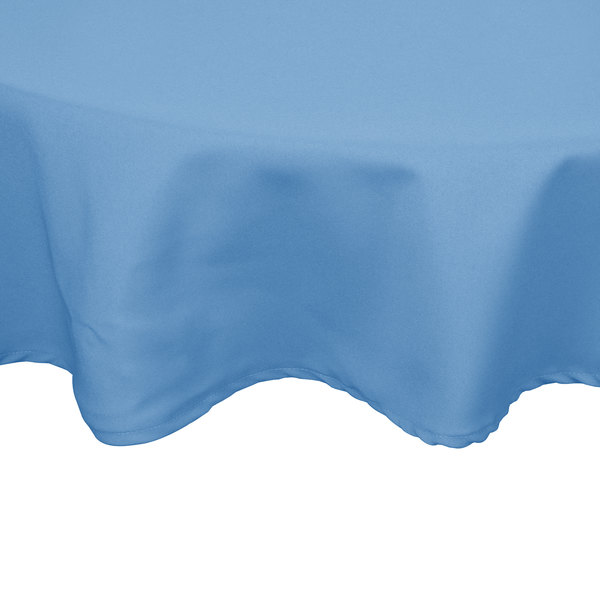 """54"""" Round Light Blue 100% Polyester Hemmed Cloth Table Cover"""