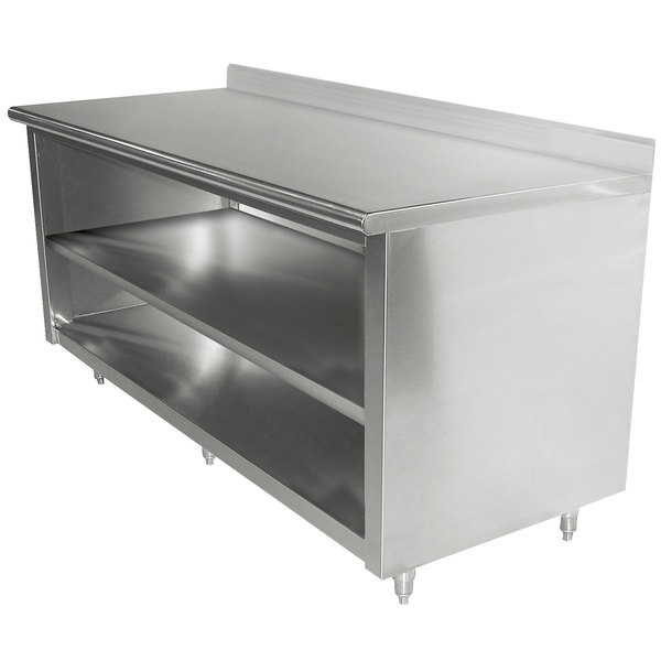 """Advance Tabco EK-SS-3010M 30"""" x 120"""" 14 Gauge Open Front Cabinet Base Work Table with Fixed Midshelf and 5"""" Backsplash"""