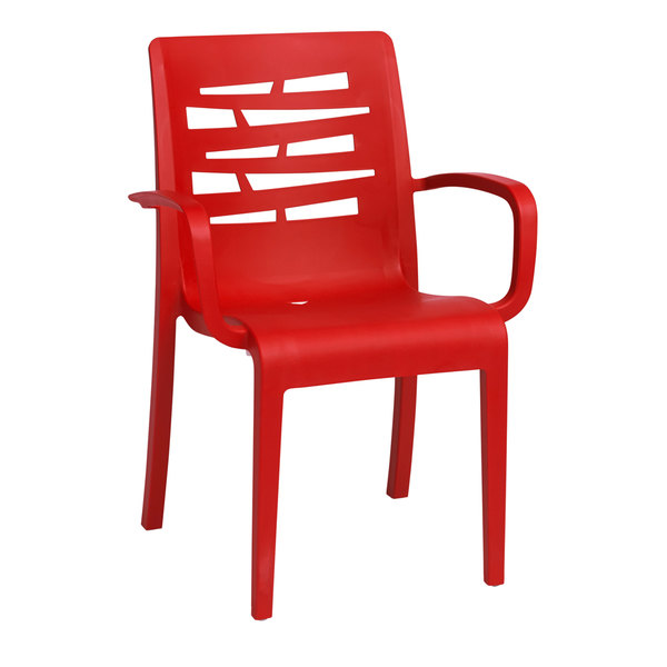Case of 16 Grosfillex US118414 / US811414 Essenza Red Stacking Armchair
