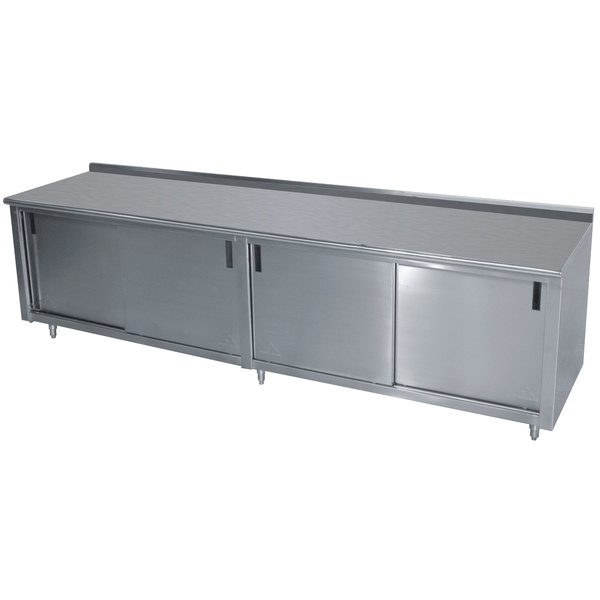"Advance Tabco CF-SS-369M 36"" x 108"" 14 Gauge Work Table with Cabinet Base and Mid Shelf - 1 1/2"" Backsplash"
