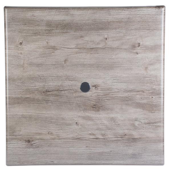 "Grosfillex UT245742 36"" x 36"" Aged Oak Square Molded Melamine Tabletop with Umbrella Hole Main Image 1"
