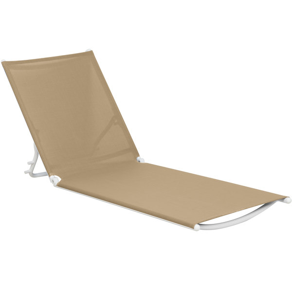 Grosfillex US673552 Beige Replacement Sling for Calypso Stacking Adjustable Resin Chaises in White Main Image 1