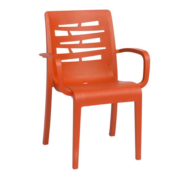 Case of 16 Grosfillex US118019 / US811019 Essenza Orange Stacking Armchair