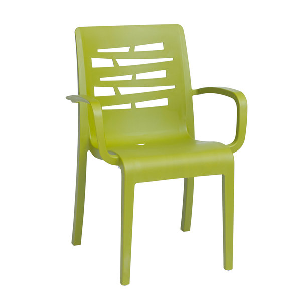 Pack of 4 Grosfillex US118152 / US811152 Essenza Fern Green Stacking Armchair