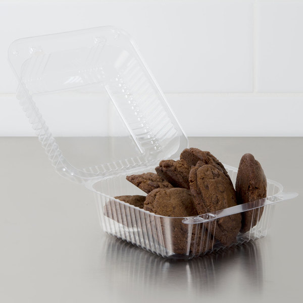 """Dart C25UT1 StayLock 6 1/8"""" x 6 1/2"""" x 3 1/4"""" Clear Hinged Plastic 6"""" Square Container - 500/Case"""
