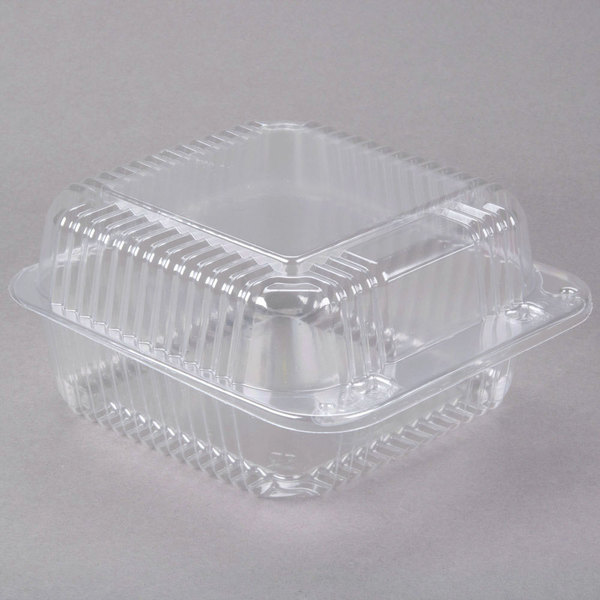 Dart C25UT1 StayLock 6 1/8 inch x 6 1/2 inch x 3 1/4 inch Clear Hinged Plastic 6 inch Square Container - 500/Case