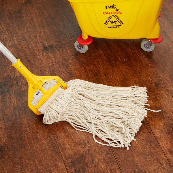 """Continental HuskeePro A401032 32 oz. Cut End Natural Cotton Mop Head with 5"""" Band Main Image 6"""