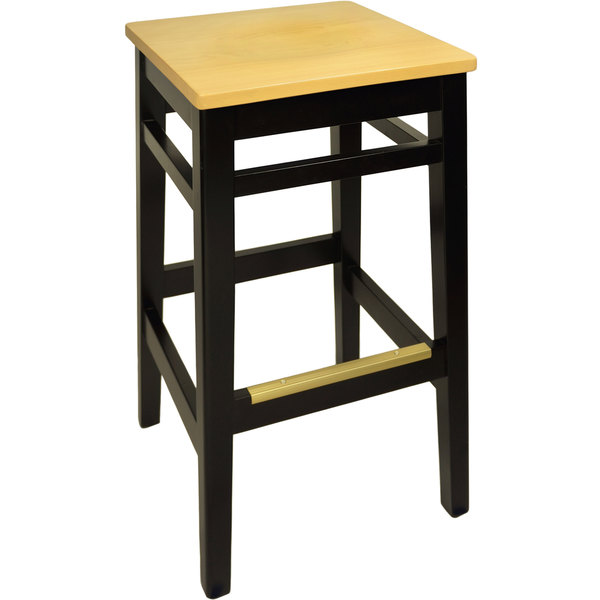 BFM Seating LWB680BLNTW Trevor Black Wood Barstool with Natural Wood Seat