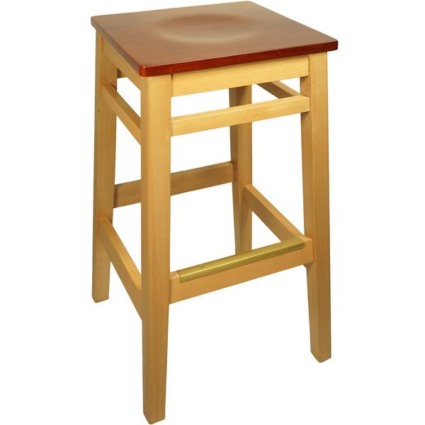 BFM Seating LWB680NTCHW Trevor Natural Wood Barstool with Cherry Wood Seat Main Image 1