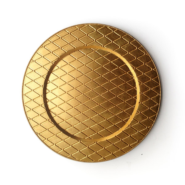 """The Jay Companies 1180254 13"""" Round Plaid Gold Acrylic Charger Plate"""