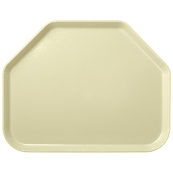 "Carlisle 2214FG024 Customizable 14"" x 22"" Glasteel Lemon Trapezoid Fiberglass Tray - 12/Case"