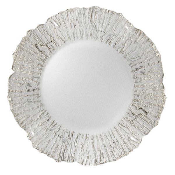"The Jay Companies 1470335 13"" Round Deniz Flower Silver Glass Charger Plate Main Image 1"