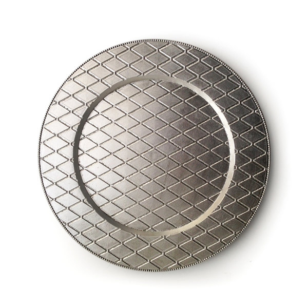 """The Jay Companies 1180255 13"""" Round Plaid Silver Acrylic Charger Plate"""