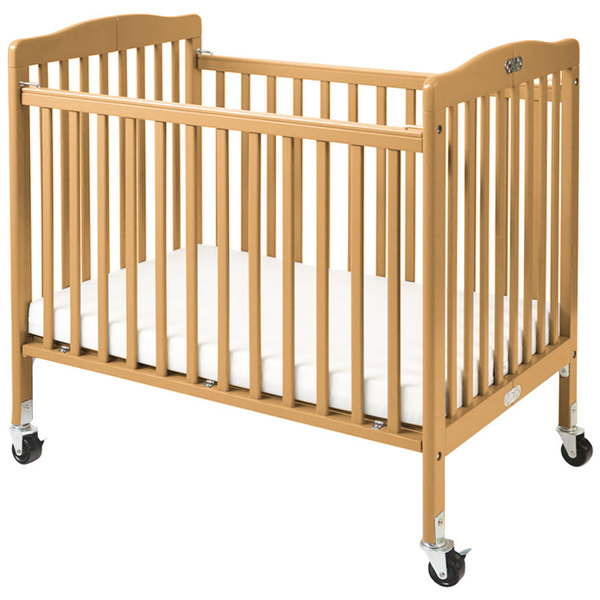 """L.A. Baby CW-883A The Little Wood Crib 24"""" x 38"""" Natural Mini / Portable Folding Wood Crib with 3"""" Vinyl Covered Mattress"""