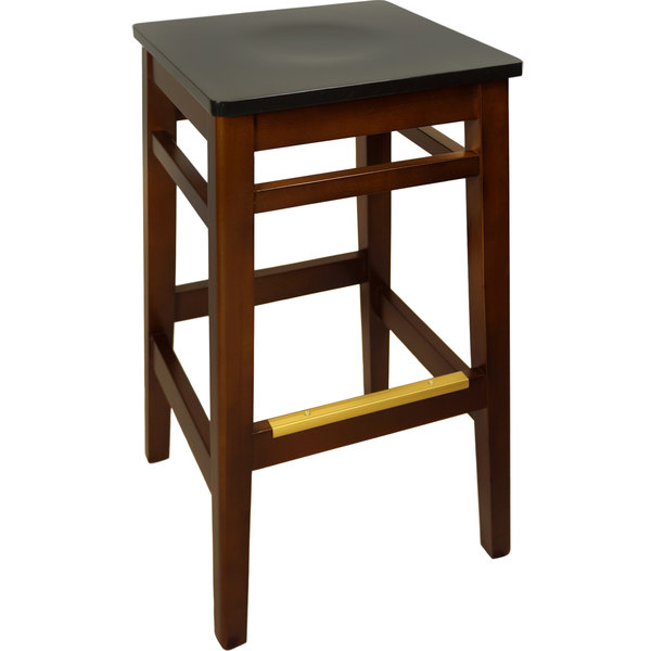 BFM Seating LWB680MHBLW Trevor Mahogany Wood Barstool with Black Wood Seat Main Image 1