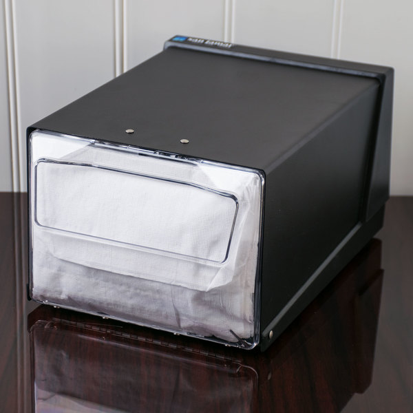 San Jamar H3001CLBK Fullfold Countertop Napkin Dispenser - Clear Face with Black Body Main Image 11