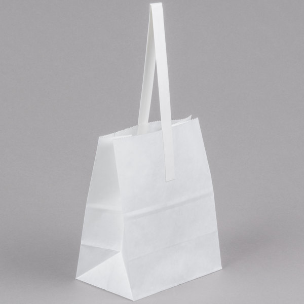 "1/2 Peck ""Sophomore"" White Kraft Paper Produce Customizable Market Stand Bag with Handle - 500/Case Main Image 1"