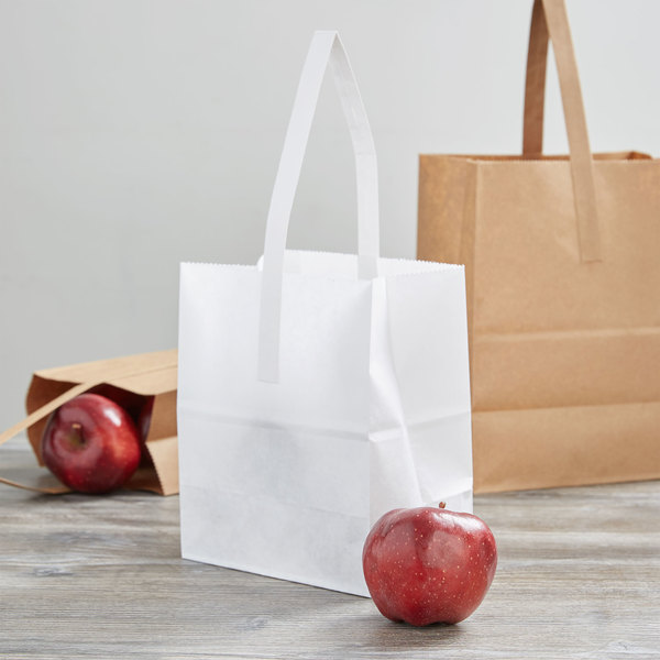 """1/2 Peck """"Sophomore"""" White Kraft Paper Produce Customizable Market Stand Bag with Handle - 500/Case"""