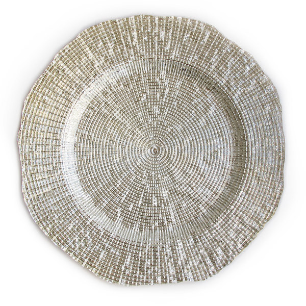 """The Jay Companies 1470337 13"""" Round Infinity Silver Glass Charger Plate"""