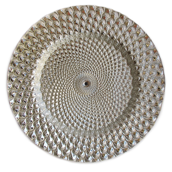"""The Jay Companies 1470333 13"""" Round Istanbul Silver Glass Charger Plate"""