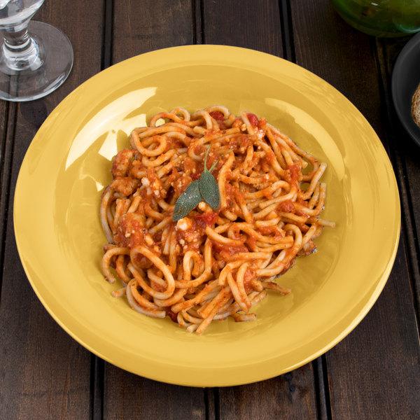 "Carlisle 3303422 Sierrus 9 1/4"" Honey Yellow Melamine Pasta / Soup / Salad Bowl - 24/Case"