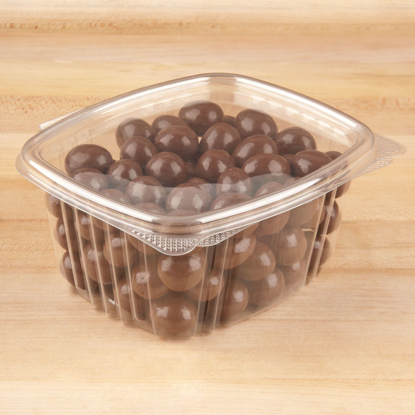 Genpak AD16 16 oz. Clear Hinged Deli Container - 100/Pack Main Image 5