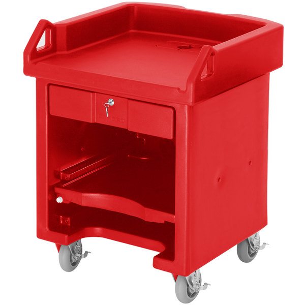 Cambro VCSHD158 Hot Red Versa Cart with Heavy Duty Casters Main Image 1