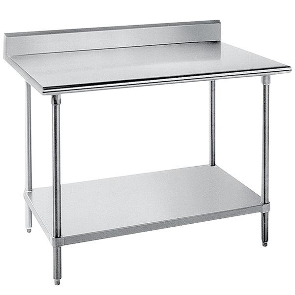 "Advance Tabco KLG-242 24"" x 24"" 14 Gauge Work Table with Galvanized Undershelf and 5"" Backsplash"
