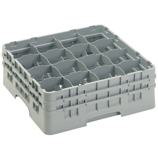 "Cambro 16S534151 Camrack 6 1/8"" High Customizable Soft Gray 16 Compartment Glass Rack"