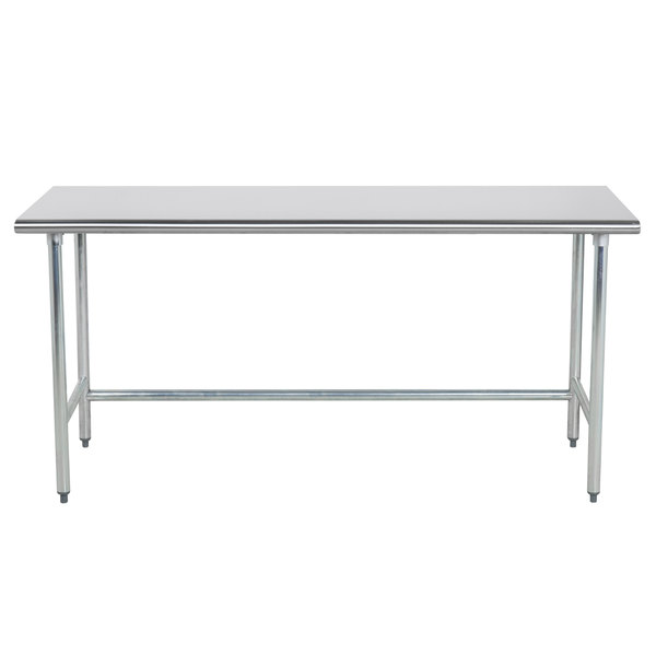 "Advance Tabco TGLG-366 36"" x 72"" 14 Gauge Open Base Stainless Steel Commercial Work Table"