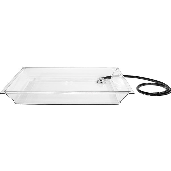 """Cal-Mil IP252 Clear Acrylic Rectangular Ice Pan with Drainage Hose for Ice Housing - 25"""" x 50 1/2"""" x 4"""""""