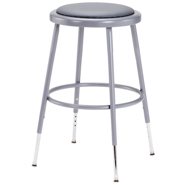 "National Public Seating 6418H 19"" - 27"" Gray Adjustable Round Padded Lab Stool Main Image 1"