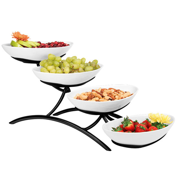 """Cal-Mil PP2000-13 Prestige Black Four Tier Wire Stand with Oval Porcelain Bowls - 7"""" x 19"""" x 9"""""""
