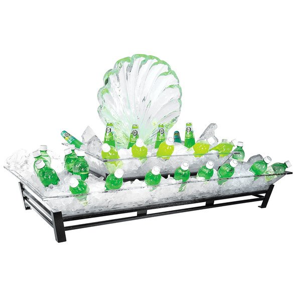 """Cal-Mil IP402-39 Two Tier Platinum Metal Ice Housing System with Ice Pan, Drainage Hose, and LED Lighting - 24"""" x 48"""" x 12 1/2"""""""