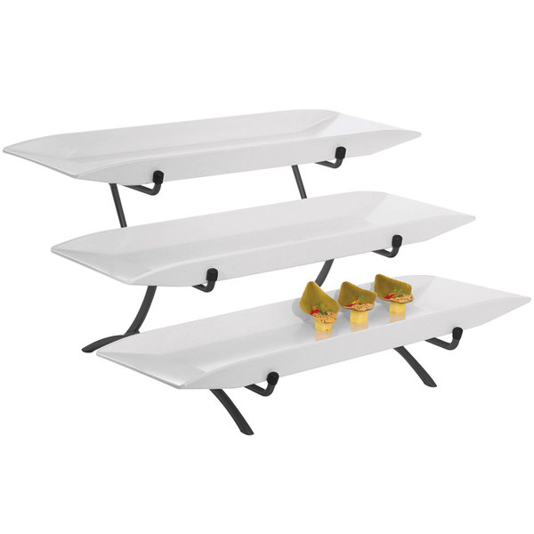 "Cal-Mil SR1033-13 Black Three Tier Metal Incline Stand with Melamine Platters - 18"" x 23"" x 12"""