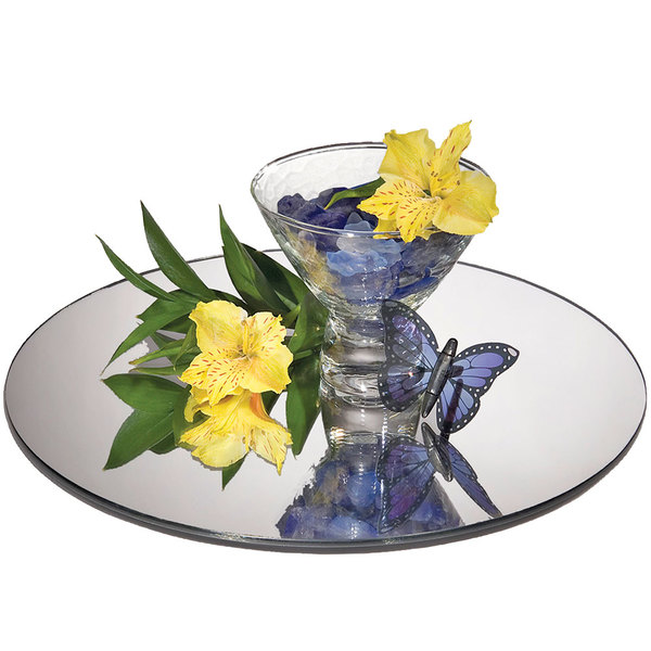 """Cal-Mil GT12 12"""" Round Mirror Glass Tray"""