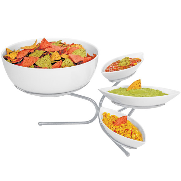 """Cal-Mil SR801-39 Platinum Incline Display with Three Small Canoe Melamine Bowls and One Large Round Melamine Bowl - 17"""" x 27"""" x 11"""" Main Image 1"""