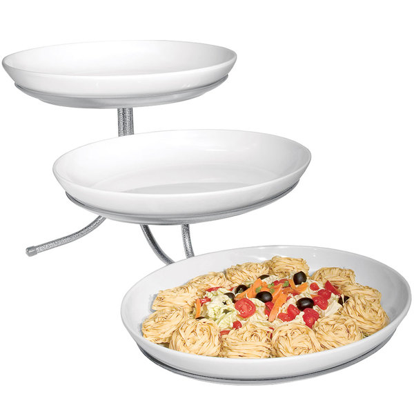 """Cal-Mil SR900-39 Platinum Three Tier Incline Stand with Oval Melamine Bowls- 15"""" x 29"""" x 12"""" Main Image 1"""