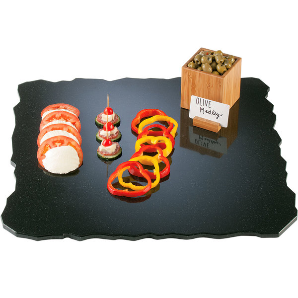 """Cal-Mil SS2289-31 Gourmet Display 22"""" Black Square Simulated Quarry Stone Acrylic Tray"""