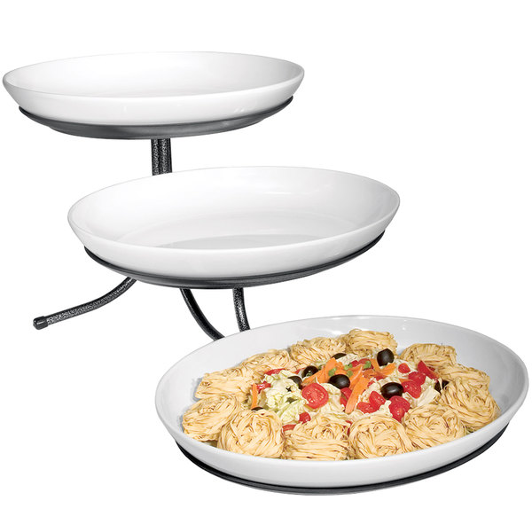 """Cal-Mil SR900-13 Black Three Tier Incline Stand with Oval Melamine Bowls- 15"""" x 29"""" x 12"""""""