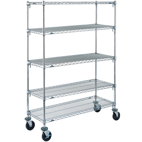"Metro 5A466BC Super Adjustable Chrome 5 Tier Mobile Shelving Unit with Rubber Casters - 21"" x 60"" x 69"""