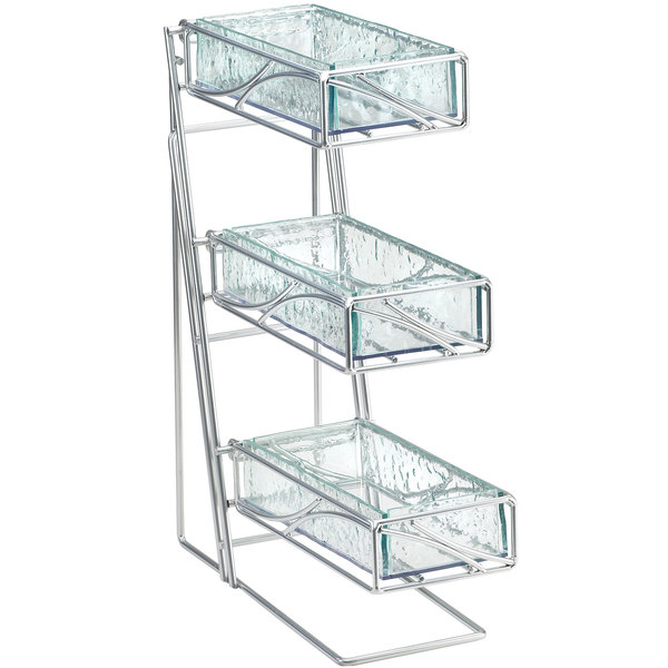 """Cal-Mil 1235-39-43 Glacier Three Tier Platinum Condiment and Flatware Display with Faux Glass Bins - 5 1/4"""" x 14"""" x 18"""""""