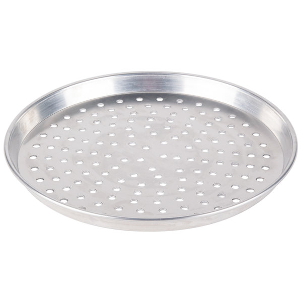 "American Metalcraft PHADEP16 16"" x 1"" Perforated Heavy Weight Aluminum Tapered / Nesting Deep Dish Pizza Pan"